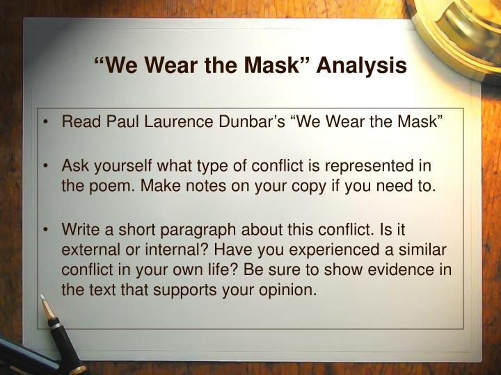 essay on we wear the mask