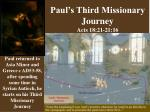 Paul's Third Missionary Journey Acts 18:21-21:16