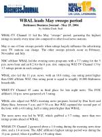 WBAL leads May sweeps period Baltimore Business Journal - May 25, 2006 by Julekha Dash, Staff