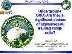 Underground UXO: Are they a significant source of explosives in training range soils?