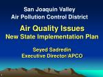 Air Quality Issues New State Implementation Plan Seyed Sadredin Executive Director/APCO
