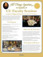 CU Faculty Seminar on Jesuit Higher Education in the 21 st Century