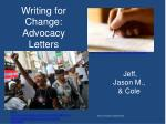 Writing for Change: Advocacy Letters