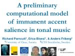 A preliminary computational model of immanent accent salience in tonal music