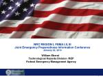 NRC REGION I, FEMA I,II, III Joint Emergency Preparedness Information Conference January 22, 2010