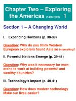 Chapter Two – Exploring the Americas (1400-1625) 1