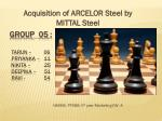 Acquisition of ARCELOR Steel by MITTAL Steel