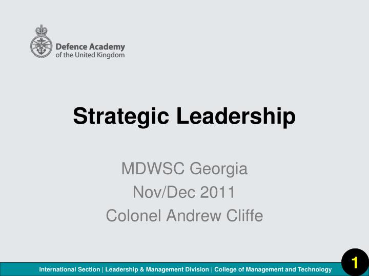 strategic leadership n.