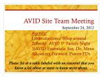 AVID Site Team Meeting