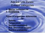 Aquatic Life Zones: 2 major categories