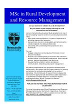 MSc in Rural Development and Resource Management