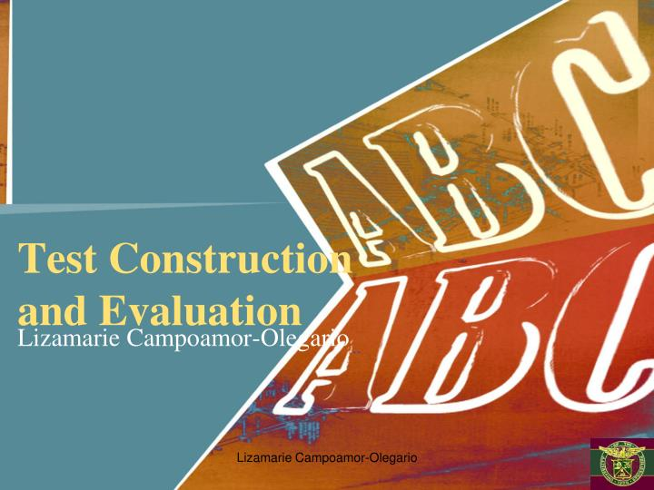 test construction and evaluation n.