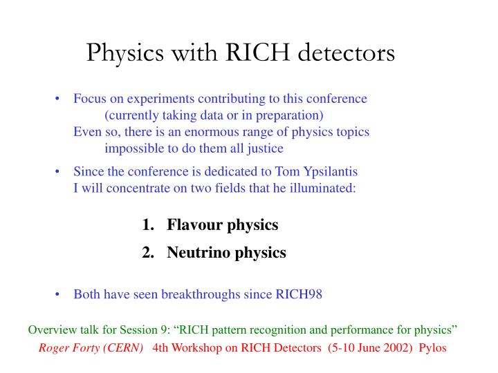 physics with rich detectors n.