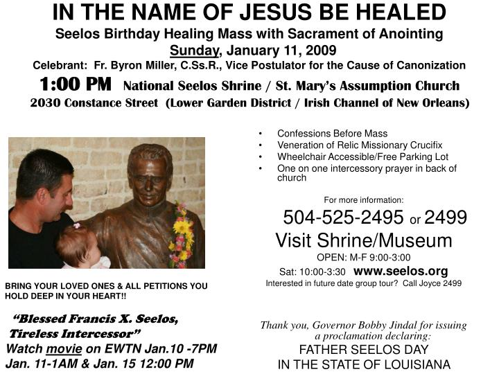 PPT - Confessions Before Mass Veneration of Relic Missionary