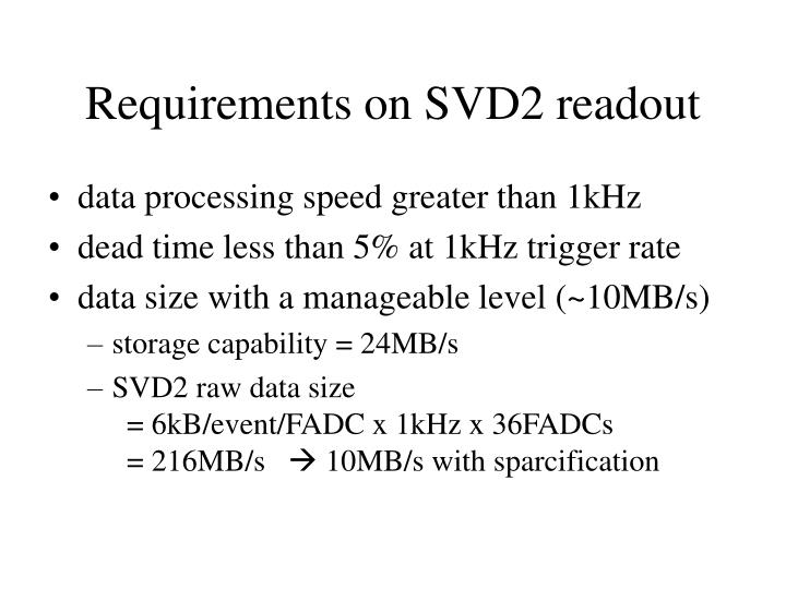 requirements on svd2 readout n.
