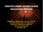 PEDIATRIC BOARD REVIEW COURSE ADOLESCENT MEDICINE