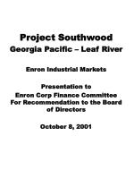 Project Southwood Georgia Pacific – Leaf River Enron Industrial Markets Presentation to