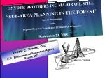 """SNYDER BROTHERS INC MAJOR OIL SPILL """"SUB-AREA PLANNING IN THE FOREST"""" Special Presentation"""