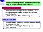Contract management: Nonsense or novel  way to collaborate in universities?