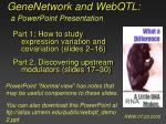 GeneNetwork and WebQTL: