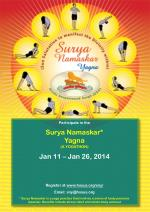 Participate in the Surya Namaskar* Yagna (A YOGATHON) Jan 11 – Jan 26, 2014
