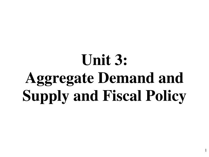 unit 3 aggregate demand and supply and fiscal policy n.