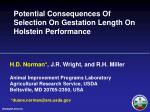 Potential Consequences Of Selection On Gestation Length On Holstein Performance