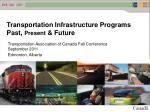 Transportation Infrastructure Programs  Past,  Present  & Future