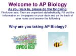 Welcome to AP  Biology