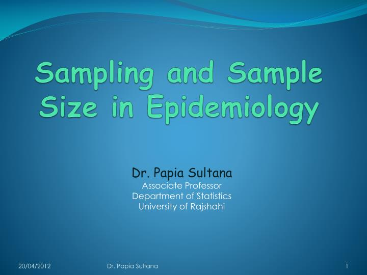 sampling and sample size in epidemiology n.
