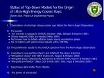Status of Top-Down Models for the Origin of Ultra-High Energy Cosmic Rays