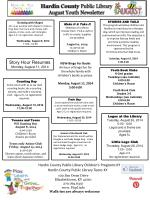 Hardin County  Public Library August  Youth Newsletter