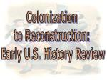 Colonization to Reconstruction: Early U.S. History Review