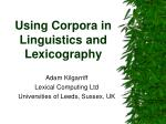 Using Corpora in Linguistics and Lexicography