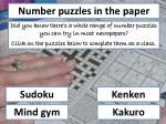 Number puzzles in the paper