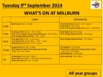 WHAT'S ON AT MILLBURN