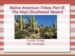 Native American Tribes Part III: The Hopi (Southwest Desert)