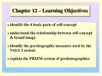 Chapter 12 – Learning Objectives
