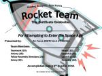 Grading Analysis:   Total Points _______ Rocket Team