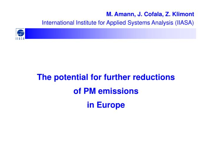 the potential for further reductions of pm emissions in europe n.