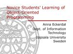Novice Students' Learning of Object-Oriented Programming