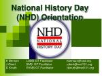 National History Day (NHD) Orientation