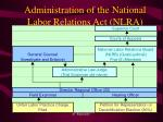Administration of the National Labor Relations Act (NLRA)