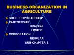 BUSINESS ORGANIZATION IN AGRICULTURE