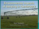 Environmental Impacts of dairying in Canterbury