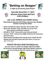 """"""" Betting on Reagan """" A night of community, food and fun ."""