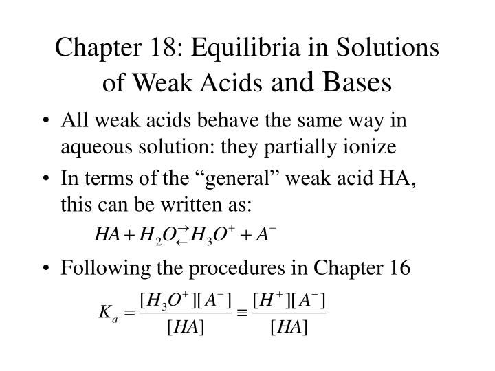 chapter 18 equilibria in solutions of weak acids and bases n.