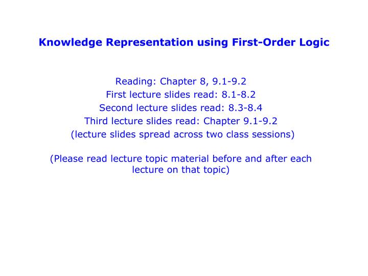 knowledge representation using first order logic n.
