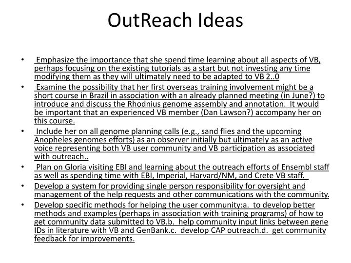 outreach ideas n.