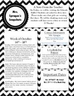 Week of October 14 th –  18 th